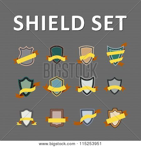Vector Colorful Shields and ribbons