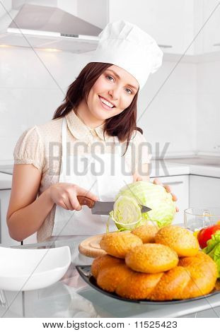 Cook Cutting Cabbage