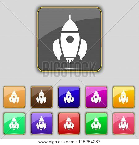 Rocket Icon Sign. Set With Eleven Colored Buttons For Your Site.