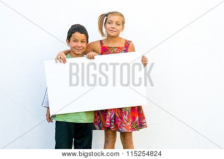 Unhappy Girl With Happy Boy Holding Banner