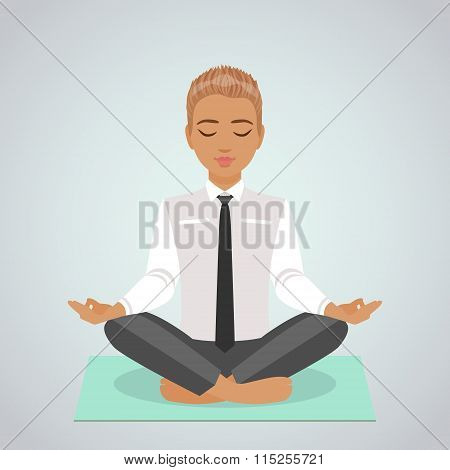 Businessman Meditating Doing Yoga