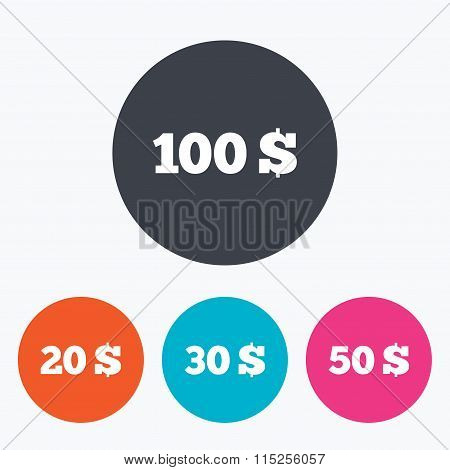 Money in Dollars icons. Hundred, fifty USD.