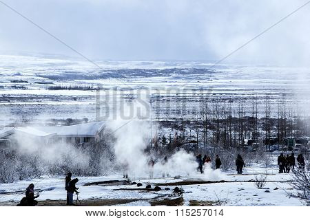 Tourists At The Famous Geyser Strokkur, Iceland