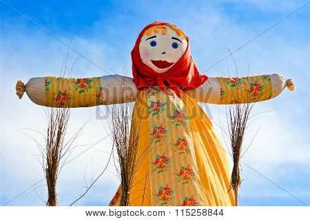 End Of The Winter. Shrovetide In Russia. Big Doll For The Burning