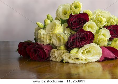 Red Roses And Lisianthus Flowers