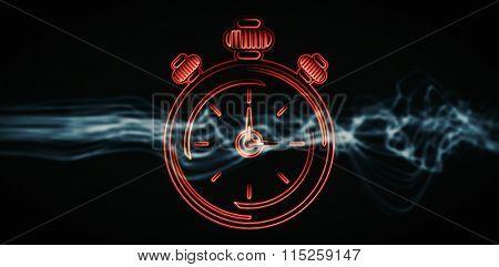 Alarm clock against blue shaky wave design on black