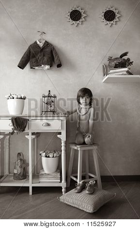Little boy, sitting on stool