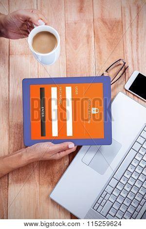 Online banking against overhead of feminine hand using tablet