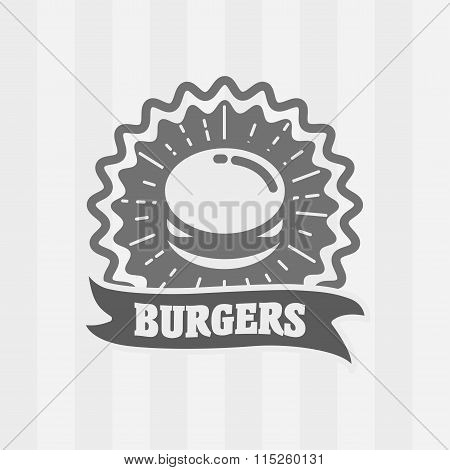 Vector Vintage Fast Food Logo, Icon Or Badge Concept With Burger. Hipster Burger Sign.