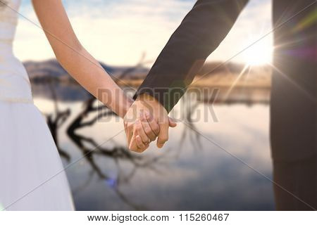 Mid section of newlywed couple holding hands in park against lake