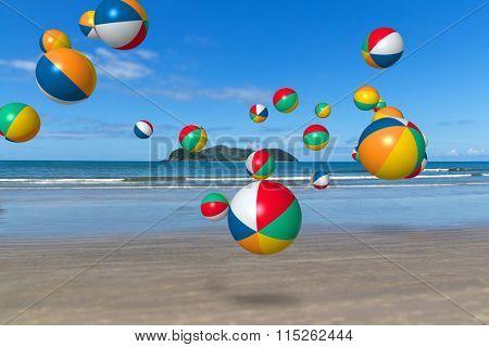 Bech balls rolling and jumping on Barra do Sahy beach, Sao Sebastiao, Sao Paulo - Brazil