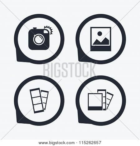 Photo camera icon. Flash light and landscape.