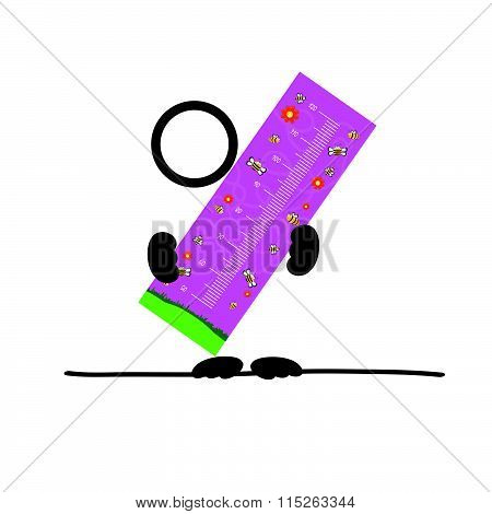 Holding Children Meter Wall Illustration In Colorful