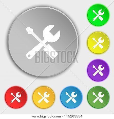 Wrench And Screwdriver Icon Sign. Symbol On Eight Flat Buttons.
