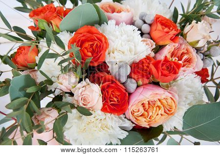 Beautiful Bridal Bouquet Made Of White And Orange Flowers
