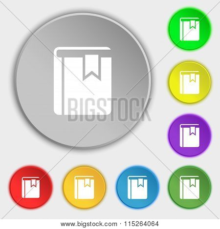 Book Bookmark Icon Sign. Symbol On Eight Flat