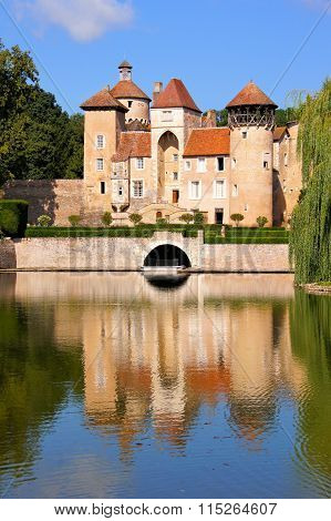 Lakeside castle with reflections, Burgundy, France