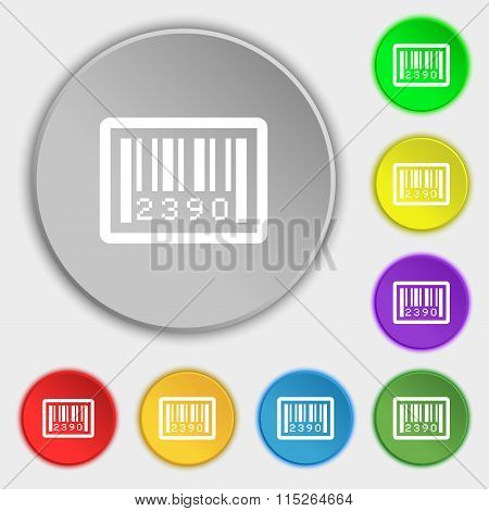 Barcode Icon Sign. Symbol On Eight Flat Buttons.