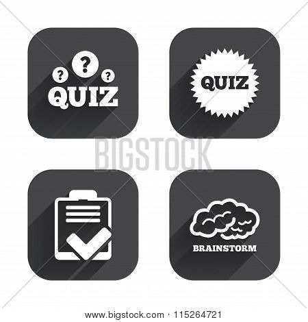 Quiz icons. Checklist and brainstorm symbols.