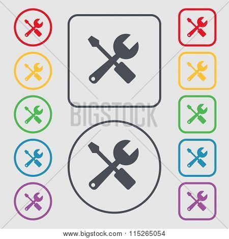 Wrench And Screwdriver Icon Sign. Symbol On The Round And Square Buttons With Frame.