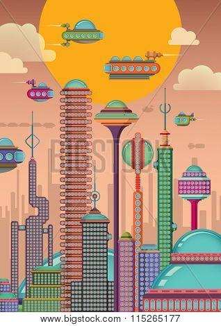 Futuristic city. Vector illustration.