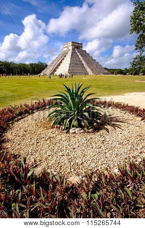 Landscape View Of Famous Chichen Itza Pyramid