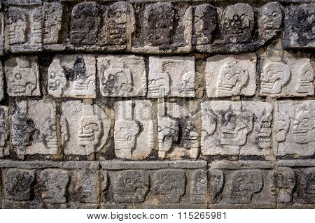 Detail Of Stone Carvings In Famous Archeological Site Chichen Itza