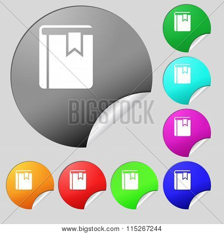 Book Bookmark Icon Sign. Set Of Eight Multi Colored Round Buttons, Stickers.