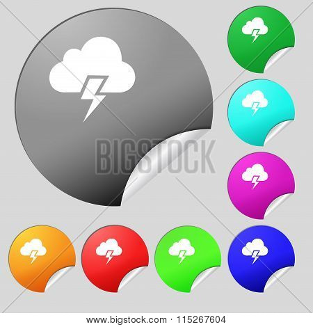 Heavy Thunderstorm Icon Sign. Set Of Eight Multi Colored Round Buttons, Stickers.