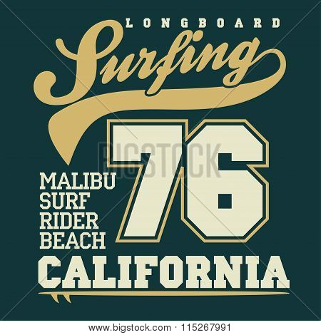 Surfing t-shirt graphic design