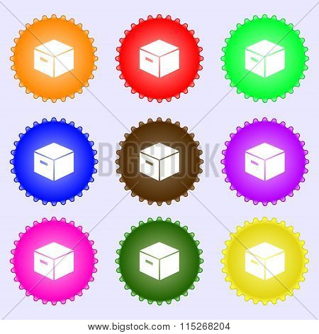 Packaging Cardboard Box Icon Sign. A Set Of Nine Different Colored Labels.