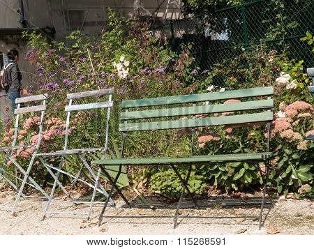 PARIS, FRANCE - SEPTEMBER 10, 2014: Paris - gardens dedicated to Auguste Renoir surround the Museum of Montmartre