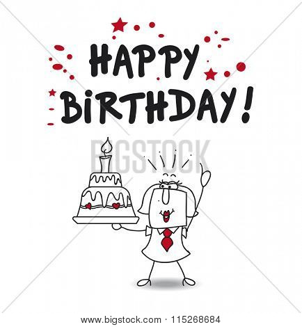 Karen and a big birthday cake says happy birthday
