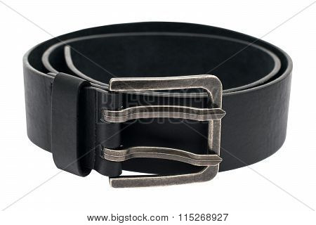 The Photo Of A Leather Black Belt On A White Background  Isolated