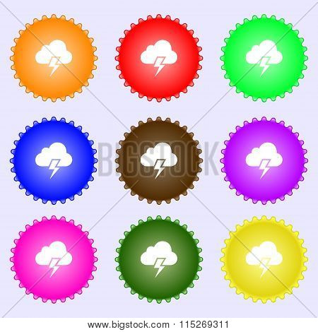 Heavy Thunderstorm Icon Sign. A Set Of Nine Different Colored Labels.
