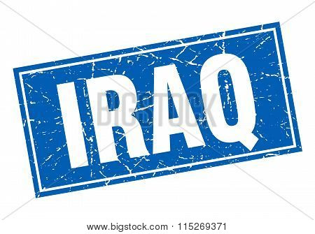 Iraq blue square grunge vintage isolated stamp