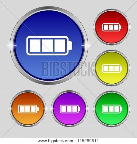 Battery Fully Charged Icon Sign. Round Symbol On Bright Colourful Buttons.