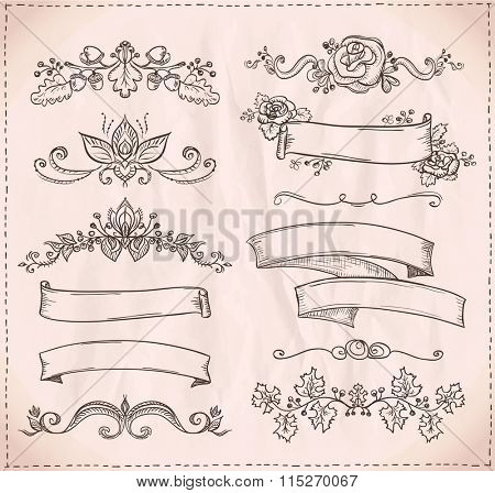 Hand-drawn graphic line elements for scrabooking, love and wedding theme, vintage style ribbons, floral bunches and dividers.