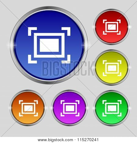 Crops And Registration Marks Icon Sign. Round Symbol On Bright Colourful Buttons.