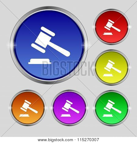 Judge Or Auction Hammer Icon Sign. Round Symbol On Bright Colourful Buttons.