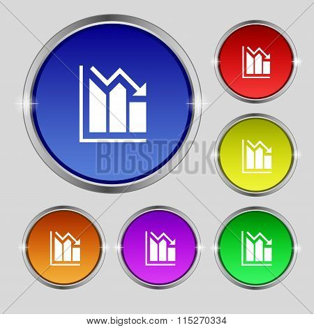 Histogram Icon Sign. Round Symbol On Bright Colourful