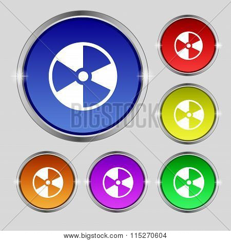 Radioactive Icon Sign. Round Symbol On Bright Colourful