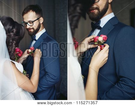 Collage Of Beautiful Brunette Bride Pinning A Boutonniere On Happy Groom