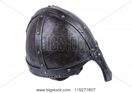 Heavy Duty Conical Norman Helmet On A White Background