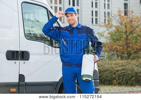 Confident Pest Control Worker Wearing Cap
