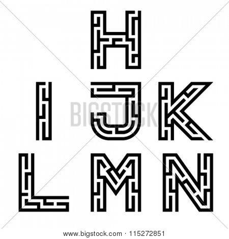 vector real maze alphabet font letters - part 2
