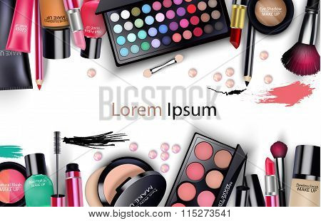 Sets of cosmetics on white background