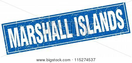 Marshall Islands blue square grunge vintage isolated stamp
