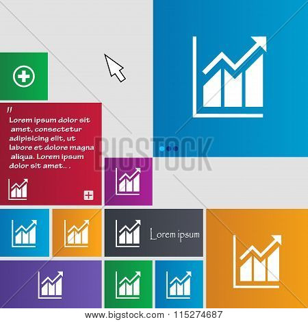 Growing Bar Chart Icon Sign. Buttons. Modern Interface Website Buttons With Cursor