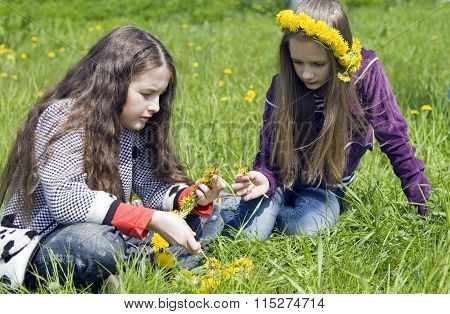 Two girls  with yellow dandelions